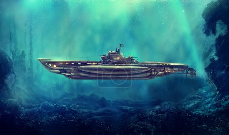 Photo pour Sous-marin pirate fantastique dans l'environnement sous-marin. Art numérique, illustration de raster. - image libre de droit