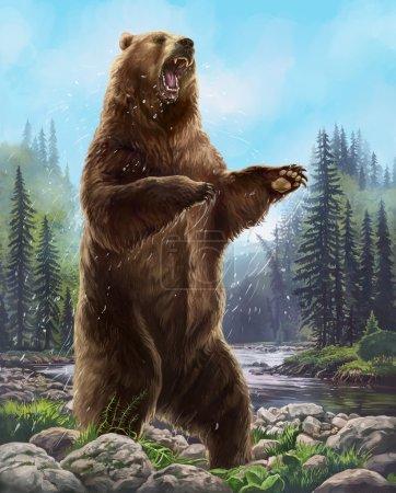 Photo pour Illustration matricielle. Gros ours attaquant leur proie . - image libre de droit
