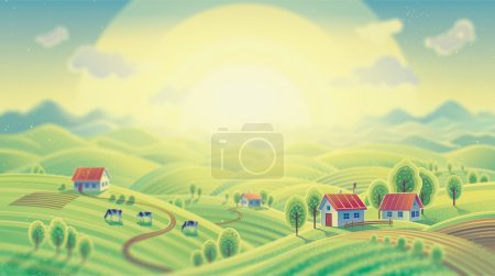 Photo for Summer rural colorful landscape with village. - Royalty Free Image