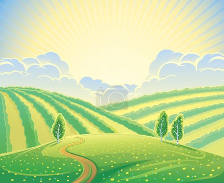 Illustration for Summer rural landscape with hills and road. Sunrise over the hills that morning. - Royalty Free Image