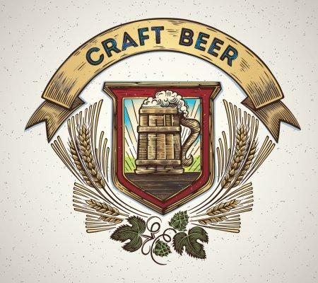 craft beer emblem with mug