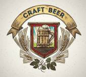 craft beer emblem with mug