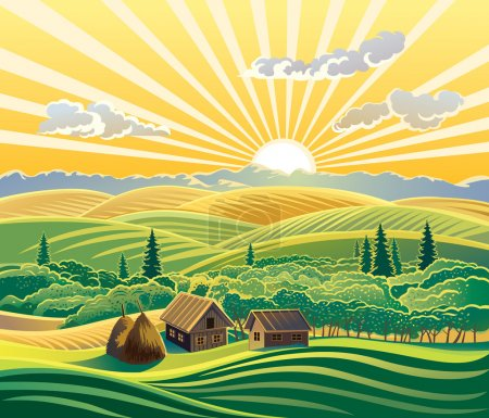 Illustration for Rural landscape with huts. In this landscape the state of nature - evening, sunset. Vector landscape. Attention to detail. - Royalty Free Image