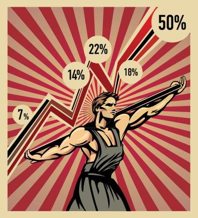 Illustration pour Cette illustration symbolise que les épaules du travailleur, gardent l'économie. Un ouvrier symbolise la reprise économique. Réussi avec l'aide de son travail de ses propres mains . - image libre de droit