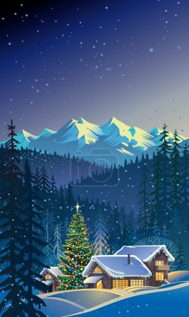 Illustration for Group houses in the mountains. Winter. Dressed Christmas tree.  Maybe a ski lodge. - Royalty Free Image