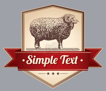 Illustration for Vector illustration. Label with sheep. Illustration animal is made as an engraving. Attention to detail. - Royalty Free Image