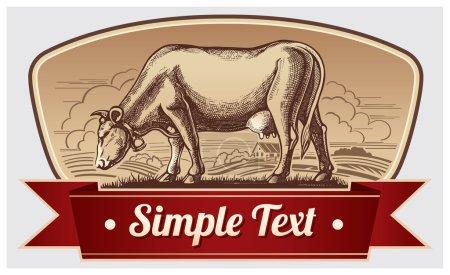Illustration pour Illustration graphique de vache avec paysage dans un cadre avec ruban - image libre de droit