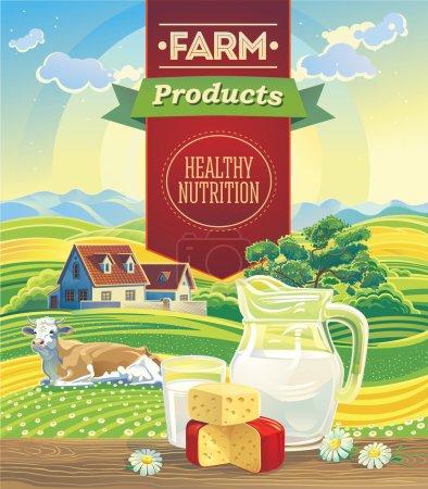 Illustration pour Produits laitiers dans le paysage et vache - image libre de droit