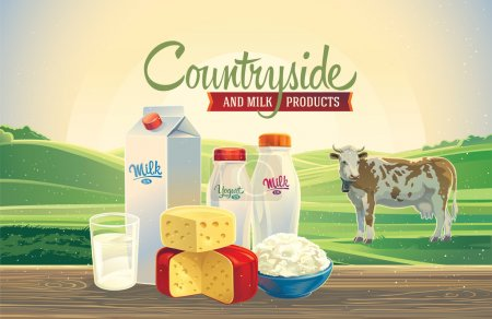 Illustration for Dairy products against the landscape background and cow - Royalty Free Image