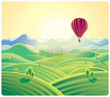 Illustration for Mountain summer landscape and air balloon. - Royalty Free Image