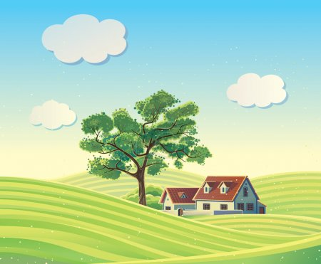 Illustration for Rural landscape with  houses, vector illustration - Royalty Free Image