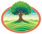 Decorative landscape with tree