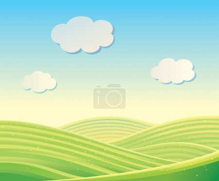 Illustration for Vector landscape with fields and hills - Royalty Free Image