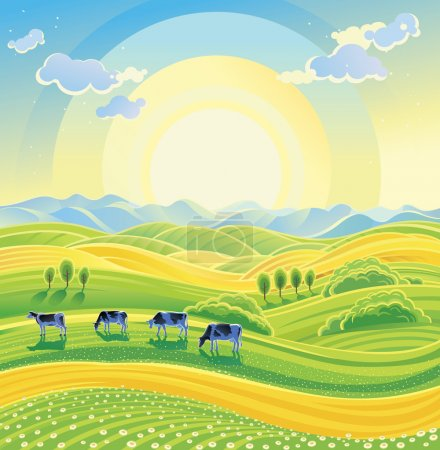 Illustration for Sunny summer landscape and herd of cows on the meadow. Vector illustration. - Royalty Free Image