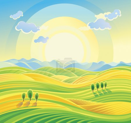 Illustration for Sunny hilly landscape. Vetor illustration - Royalty Free Image