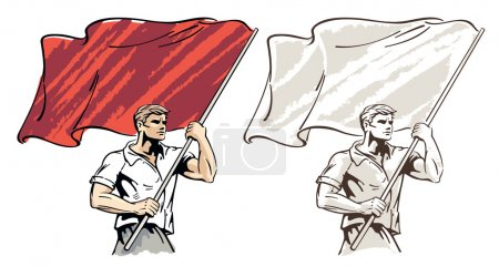 Man with a big flag in his hands. Vector illustrat...