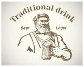 craftsman holding  mug of beer