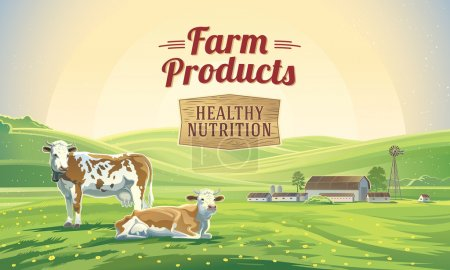 Illustration for Farm natural products poster. Two cows in a landscape and a farm. vector illustration - Royalty Free Image