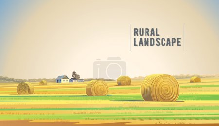 Illustration for Countryside landscape with hay, field and village - Royalty Free Image