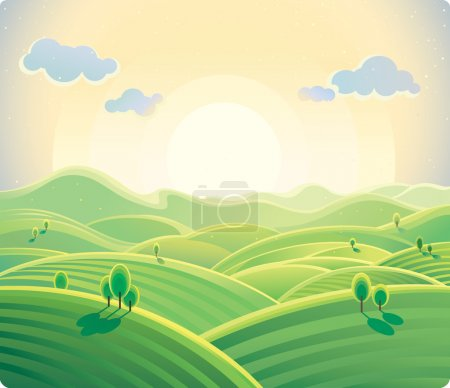 Illustration for Sunrise over the hills. Natural landscape. vector - Royalty Free Image