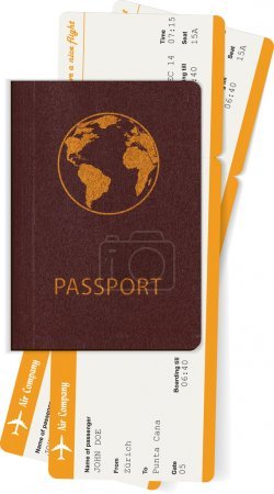 Passport and two boarding passes