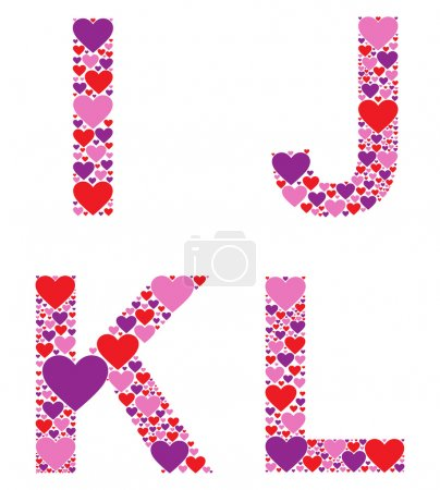 Letters I, J, K and L filled with colorful hearts...