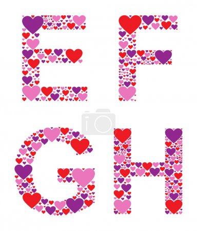 Letters E, F, G, and H filled with colorful hearts...