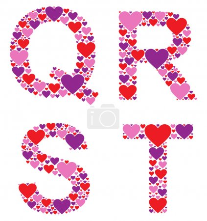 Letters Q, R, S, and T filled with colorful hearts...