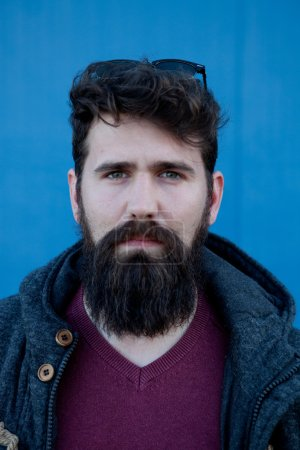 Photo for Casual hipster man with long beard at the street - Royalty Free Image