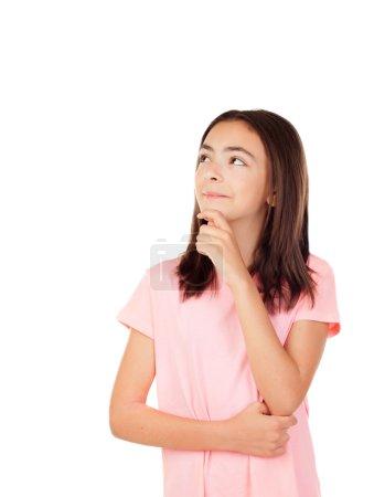 Pensive pretty preteenager girl