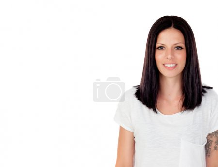 Photo for Young cool brunette woman in studio white background - Royalty Free Image