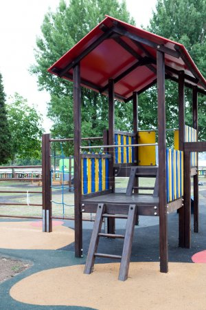 Photo for Traditional playground in a schoolyard without child - Royalty Free Image