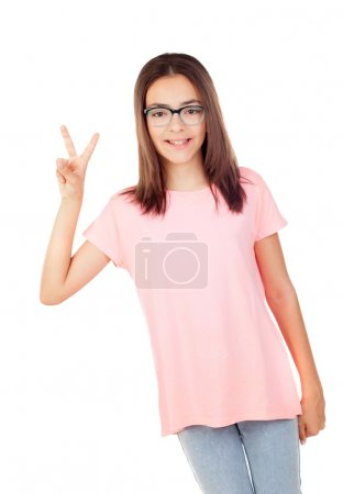Pretty preteenager girl with glasses