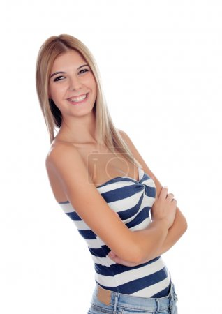 Attractive blond girl isolated