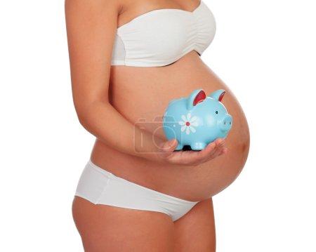 Body pregnant in underwear with moneybox