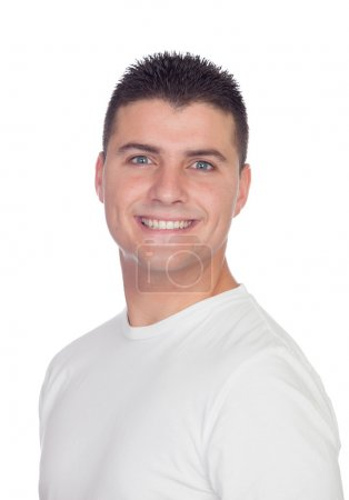 Casual guy smiling with blue eyes