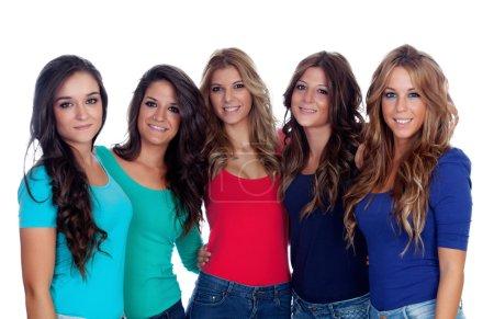 Photo pour Cinq bons amis isolés sur fond blanc - image libre de droit