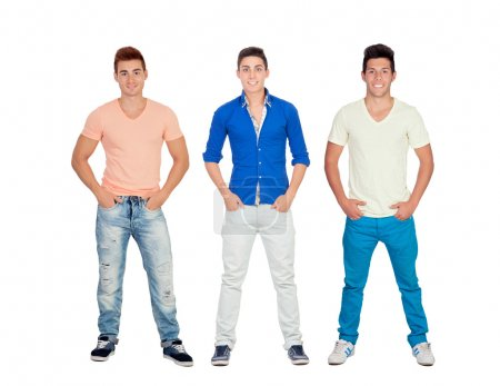 Three casual and young men