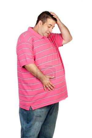 Surprised obesity man