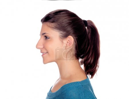 Profile of casual young girl smiling