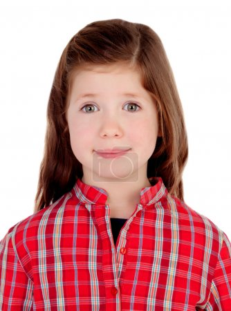 Adorable little girl with red plaid shirt