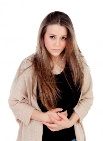 Blonde young girl with with stomach pain