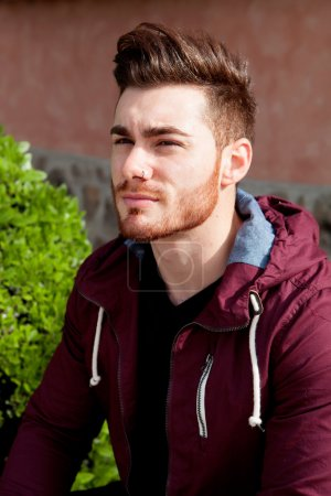 Casual cool young man with beard