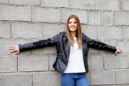 Cool young woman with black jacket