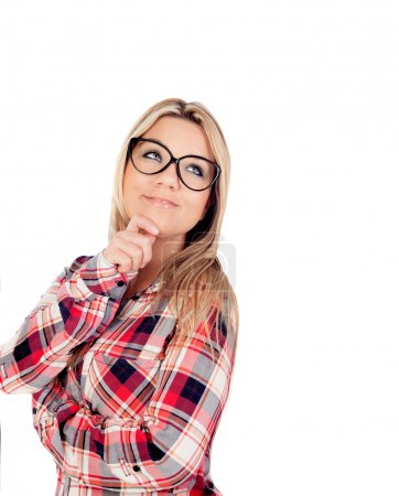Cute Blonde Girl with glasses thinking