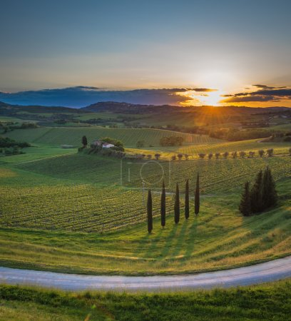 Sunset over hills of Tuscany