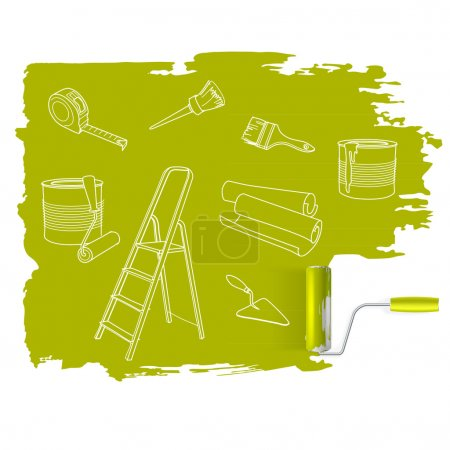 Illustration for Home repair  concept, sketched drawing with paint roller vector - Royalty Free Image