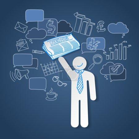 Illustration pour Vecteur de communication affaires nouvelles équipe chef teamwork personnes - image libre de droit