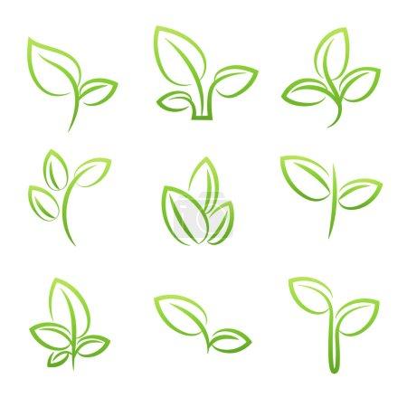 Leaf simbol, Set of green leaves design elements