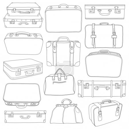 Illustration for Set of Vintage Suitcases doodle - for design in vector - Royalty Free Image